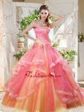 Fashionable Rainbow Big Puffy Quinceanera Dress with Ruffles Layers and Beading SJQDDT699002FOR
