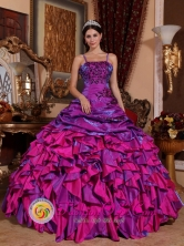 General Escobedo Mexico Wholesale Discount Purple and Fuchsia Ruffled Quinceanera Dress With Embroidery Straps Multi-color Style QDZY062FOR