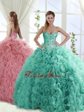 Gorgeous Beaded Brush Train Detachable Sweet 16 Dresses with Rolling FlowerSJQDDT562002FOR