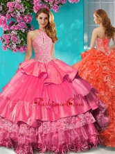 Gorgeous Halter Top Brush Train Sweet 16 Dress with Beading and Ruffles Layers SJQDDT628002FOR