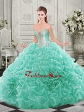 Latest Chapel Train Beaded and Ruffled Quinceanera Dress with Detachable Straps SJQDDT512002FOR