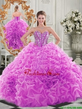 Lovely Puffy Skirt Beaded Bodice and Ruffled Quinceanera Dress in Fuchsia QDDTA121002FOR
