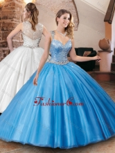 Luxurious See Through Back Straps Quinceanera Dress with Beaded Bodice XFQD1051FOR