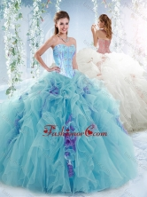 Luxurious Visible Boning Aquamarine Detachable Quinceanera Dresses with Beading SJQDDT531002FOR