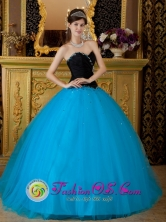 Merida Mexico Wholesale Teal and Black Beading Exquisite Taffeta and Tulle Quinceanera Dress With Sweetheart Style QDZY124FOR
