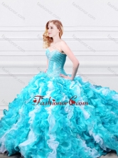 Modern Beadede and Ruffled Quinceanera Gown in Aqua Blue and White XFQD995FOR