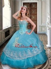 New Arrivals Ball Gown Baby Blue Sweet 16 Dress with Appliques and Beading XFQD1024FOR