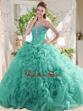 New Arrivals Rolling Flowers Mint Sweet 16 Dress with Beading SJQDDT741002FOR