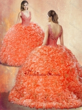 New Style V Neck Brush Train Quinceanera Dresses with Appliques SJQDDT412002FOR