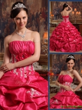 Recommended Strapless Appliques Quinceanera Gowns in Coral Red  QDZY466CFOR