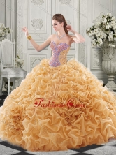 Popular Beaded Bodice and Ruffled Champagne Chapel Train Quinceanera Gown SJQDDT518002-1FOR
