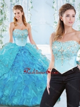 Popular Big Puffy Organza Detachable Sweet 16 Dress with Beading and Ruffles SJQDDT551002AFOR