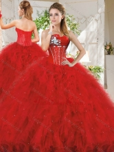 Popular Really Puffy Red Quinceanera Dress with Beading and Ruffles SJQDDT729002FOR