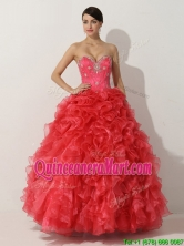 Promotional Princess Red Quinceanera Gown with Beading and Ruffles THQD007FOR