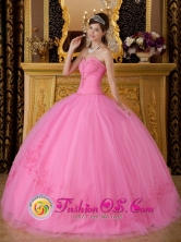 Queretaro Mexico Wholesale Rose Pink  Sweetheart Floor-length Tulle  Quinceanera Dress For 2013 Appliques Decorate Style QDZY185FOR