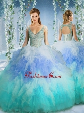 Rainbow Deep V Neck Cap Sleeves Quinceanera Dress with Beading and RufflesSJQDDT590002FOR