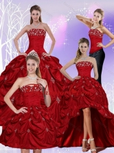 Recommended 2015 Floor Length Strapless Sweet 16 Dress with Embroidery and Pick Ups QDZY230TZA2FOR