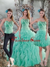 Recommended 2015 New Style Aqua Blue Quinceanera Dresses with Beading and Ruffles XFNAO663TZA1FOR