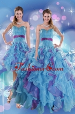 Recommended 2015 Pretty Multi Color Quince Dresses with Ruffles and Beading XFNAO783TZFOR