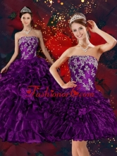 Recommended 2015 Strapless Quinceanera Dress with Embroidery and Ruffles QDZY244TZFOR