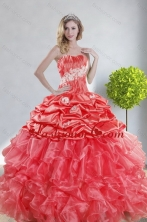 Recommended 2015 Top Seller Watermelon Red Quince Dresses with Appliques and Ruffles XFNAOA43TZFXFOR