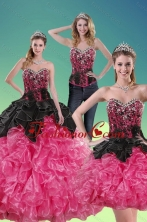 Recommended 2015 Unique Multi Color Quince Dresses with Beading and Ruffles XFNAOA16TZA1FOR