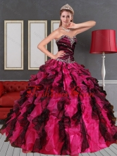 Recommended 2015 Unique Sweetheart  Multi Color Quinceanera Dress with Beading and Ruffles QDZY689TZFXFOR