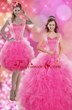 Recommended 2015 Wonderful Hot Pink Quinceanera Dresses with Beading and Ruffles XFNAOA46TZFOR