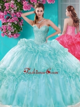 Recommended Beaded and Pick Ups Quinceanera Gown with Really Puffy SJQDDT644002FOR