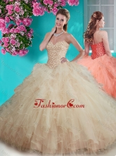 Recommended Beaded and Ruffled Big Puffy Quinceanera Dress in Champagne SJQDDT641002FOR
