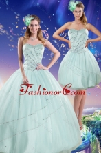 Recommended Beautiful 2015 Apple Green Strapless Quinceanera Dresses with Beading XFNAOA02TZFOR