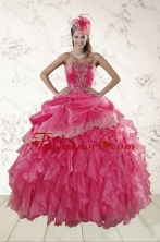 Recommended Beautiful Ruffles and Appliques Quince Dresses in Hot Pink XFNAO068TZFXFOR