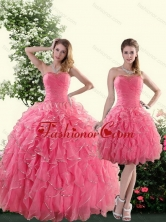 Recommended Beautiful Strapless Paillette Quince Dresses in Rose Pink for 2015 XFNAO744TZFOR