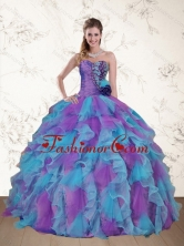 Recommended Cute Strapless Beading and Ruffles Multi Color Sweet 15 Dress QDZY453TZFXFOR