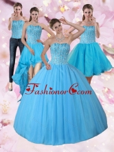 Recommended Detachable Baby Blue Strapless 2015 Quinceanera Dress with Beading PDZY690TZA2FOR