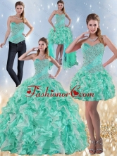 Recommended Exclusive Sweetheart Quinceanera Dresses in Apple Green with Ruffles and Beading for 2015 ZY791TZA2FOR