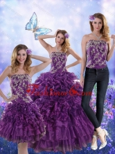 Recommended Fantastic Purple Strapless Quince Dresses with Appliques and Ruffles for 2015 XFNAO244TZA1FOR