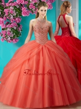 Recommended Halter Top Beaded and Applique Quinceanera Dress in Orange Red SJQDDT618002FOR