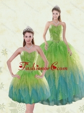 Recommended Luxurious Multi Color Quinceanera Dresses with Appliques and Ruffles XFNAO5786TZFOR