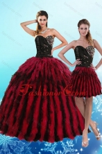 Recommended Luxurious Multi Color Sweetheart Quince Dresses with Beading and Ruffles XFNAO787TZFOR
