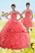 Recommended Watermelon Strapless 2015 Quince Dresses with Beading and Ruffles XFNAO704TZFOR