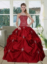 Recommended Wine Red  Pretty Strapless 2015 Quinceanera Gown with Embroidery and Pick Ups MLD090710TZFXFOR