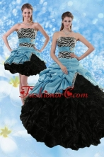 Recommended Zebra Print Multi Color Strapless Quince Dresses with Ruffles and Pick Ups XFNAO435TZFOR