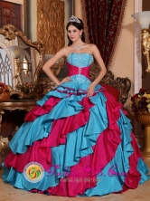 Santa Catarina Mexico Autumn Wholesale Embroidery Decorate With Discount Aqua Blue and Red Quinceanera ball gown Style QDZY389FOR