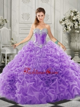 Simple Beaded and Ruffled Lace Up Sweetheart Quinceanera Gown in Organza SJQDDT520002-1FOR