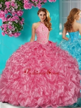 Sophisticated Halter Top Puffy Skirt Quinceanera Dress in Beading and Ruffles SJQDDT630002FOR