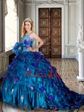 Spaghetti Straps Beaded and Applique Teal Quinceanera Dresses with Brush Train XFQD1012FOR