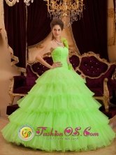 Tantoyuca Mexico Wholesale Stuuning Spring Green One Shoulder Ruffles Layered Quinceanera Cake Dress Style QDZY117FOR
