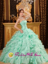 Tapachula Mexico Wholesale Organza Apple Green Ruffled Layers Decorate  Ruching Quinceanera Dress With Sweetheart Neckline Style QDZY118FOR
