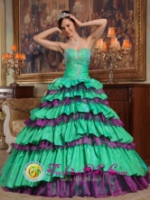 Tehuacan Mexico Wholesale Taffeta and Organza Green and Purple Beading For 2013 Sweet Quinceanera Dress With Sweetheart Style QDZY331FOR